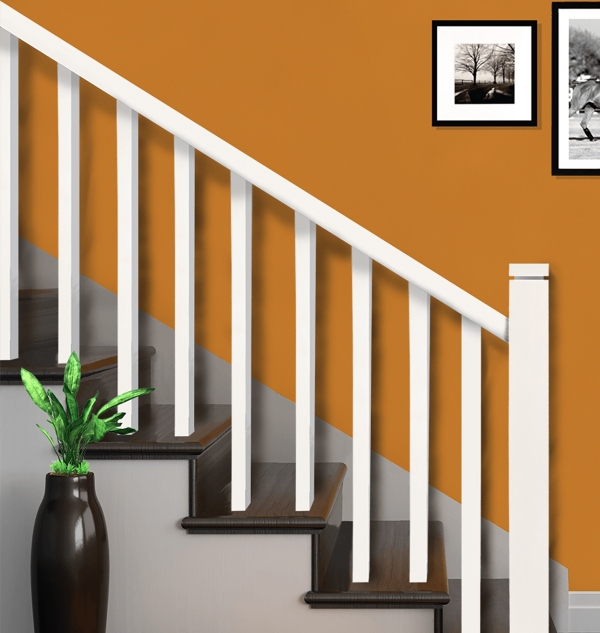 white stair railing