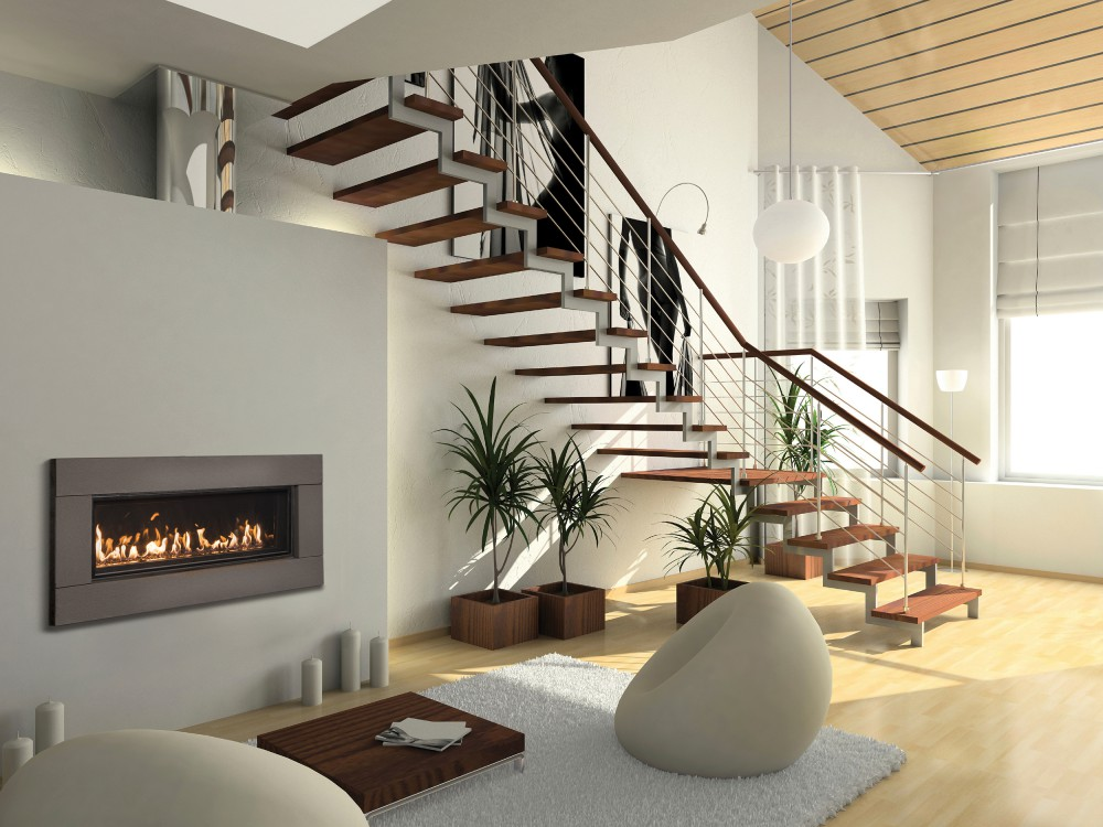 fireplace under a staircase