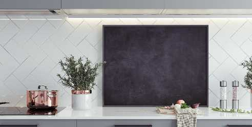 kitchen flashback wall with a blackboard