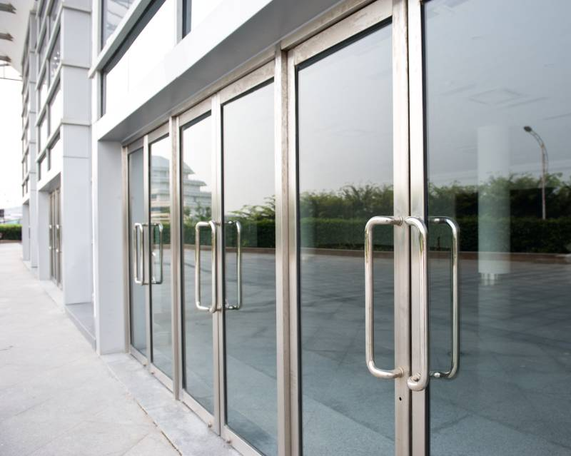 view of glass doors outside a building