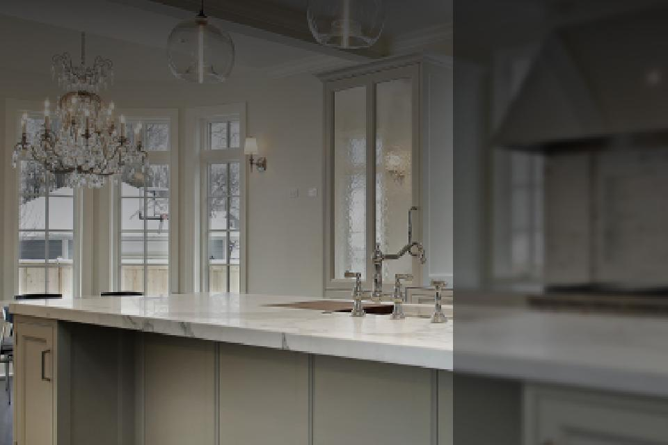 view of a kitchen island with a sink