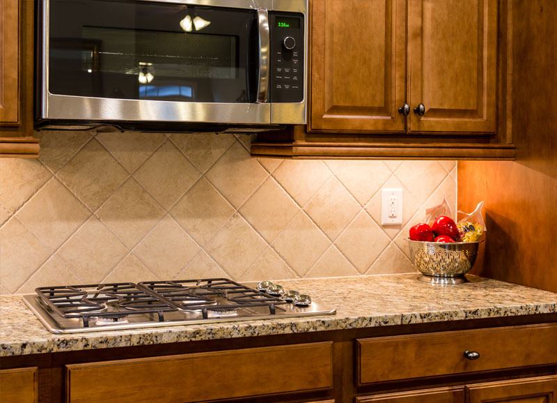 granite countertop with stove