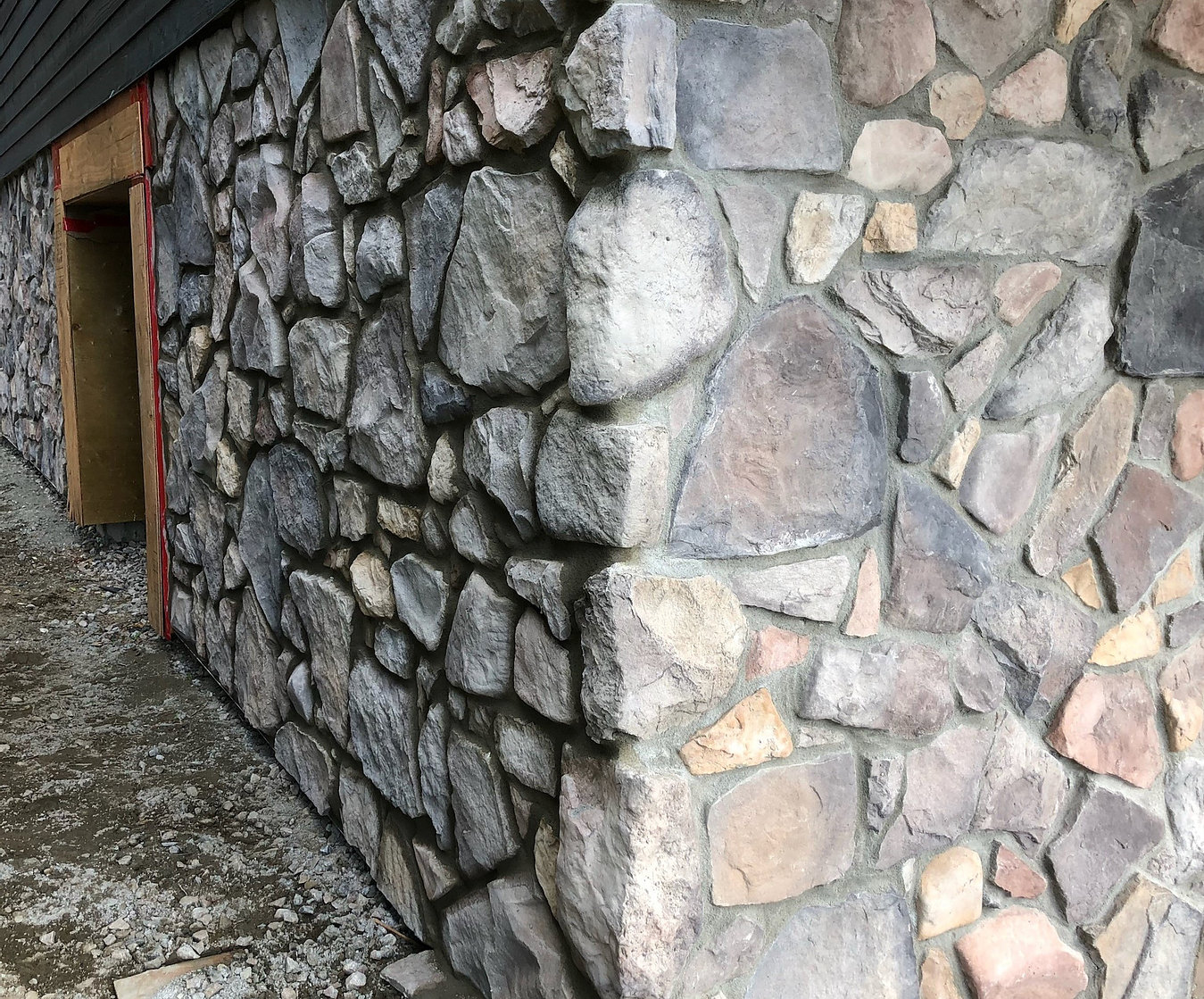 closeup of stone wall