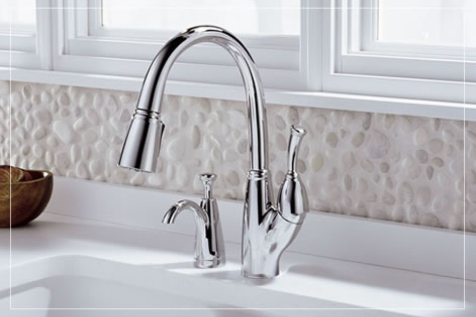 view of a silver faucet